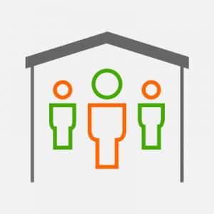 Trzy ludziki w domku - komputerowy obrazek