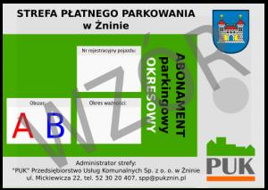 Abonament parkingowy okresowy wzór
