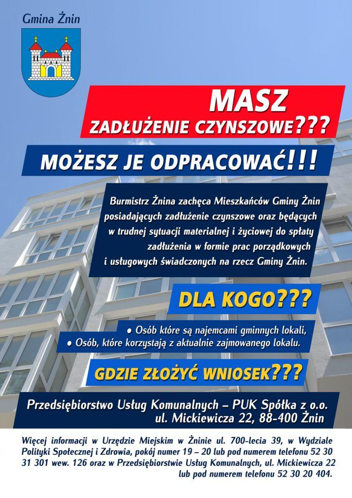 Plakat o zadłużeniu czynszowym