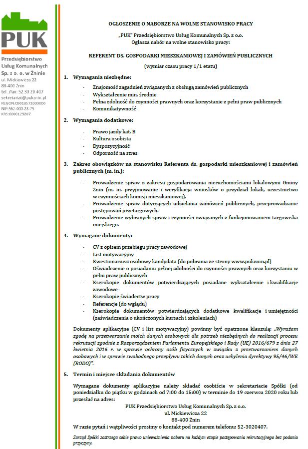Nabór na wolne stanowisko pracy – Referent ds. Gospodarki Mieszkaniowej i zamówień publicznych