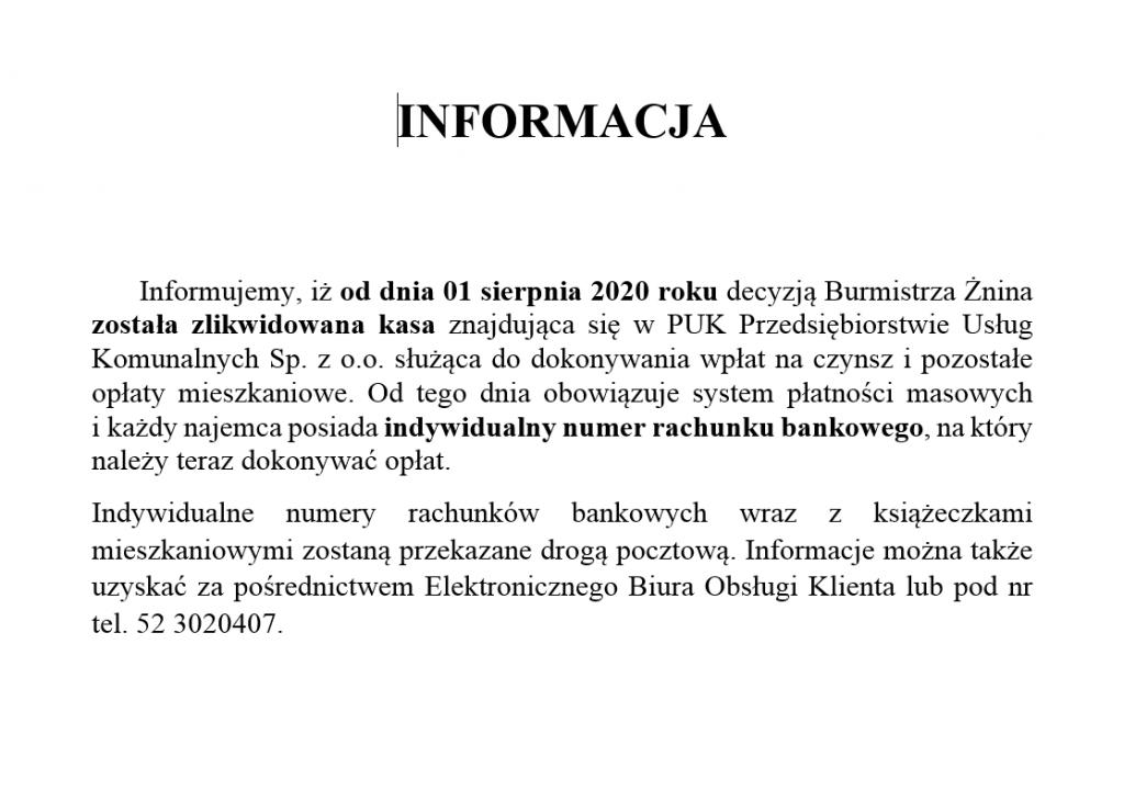 Informacja dotycząca kasy PUK