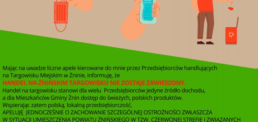 Komunikat specjalny Burmistrza Żnina ws. Targowiska Miejskiego